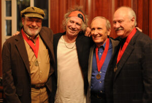 Keith Richards with Sonny Curtis and The Crickets at the Music Hall of Fame Induction