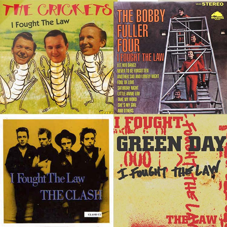 four album covers of bands that recorded I fought the Law